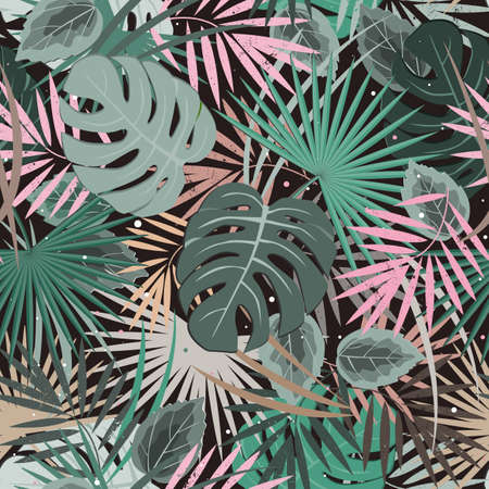 Exotic leaves, rainforest seamless pattern. tropical paradise. Vector background 向量圖像