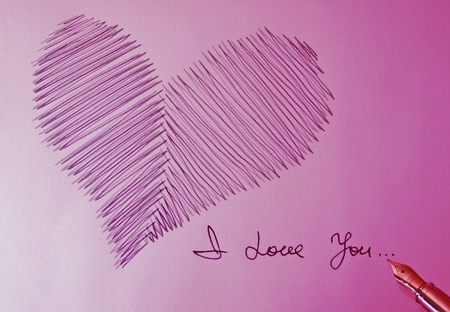 heart, fountain pen and I love you photo
