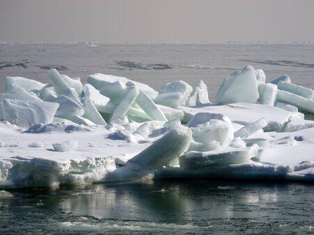 big blocks of ice frozen Black sea photo