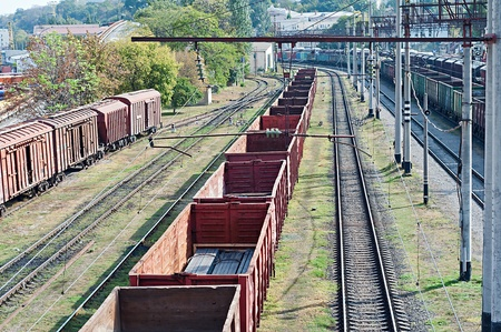 many railroad cars and tanks standing in rails Stock Photo - 22536600