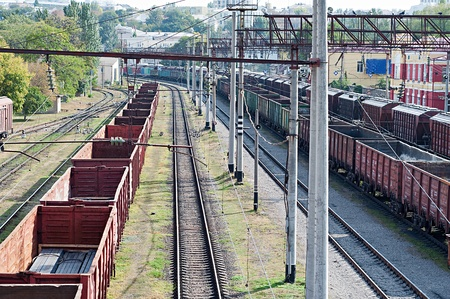 many railroad cars and tanks standing in rails Stock Photo - 22536598