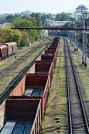 many railroad cars and tanks standing in rails Stock Photo - 22536601