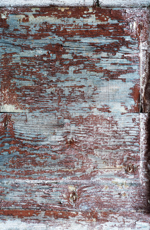 unhygienic: part of old wooden door in poor condition with peeling paint