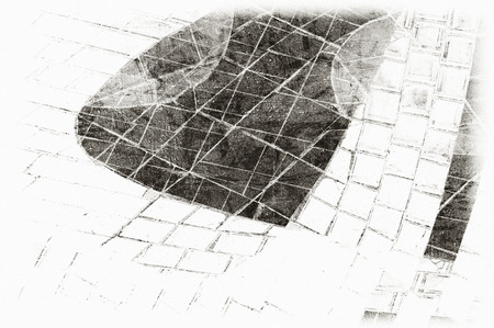 Black and white monochrome old grunge vintage weathered background abstract antique texture with retro pattern Stock Photo