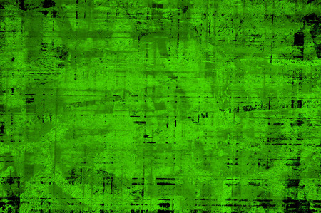 Green Black White Aged Grunge Wall Background. Old Weathered Peeled Painted Plaster Backdrop. Abstract Antique Cracked Stain Texture Background. Damaged Retro Stucco Scratched Pattern