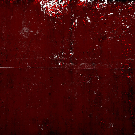 Red Black White Aged Grunge Wall Background. Old Weathered Peeled Painted Plaster Backdrop. Reddish Abstract Antique Cracked Stain Texture Background. Damaged Retro Stucco Scratched Pattern