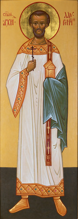 Archdeacon Lawrence depicted in the icon, which is written in Russian style