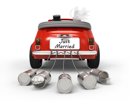 Just Married isolated on white background 3D rendering