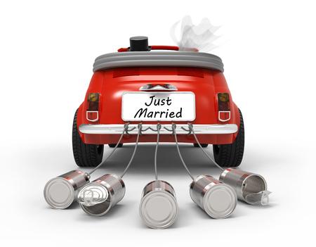 Just married auf weißem Hintergrund 3D-Rendering isoliert
