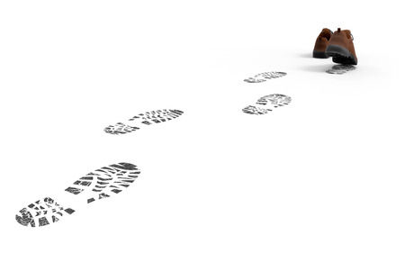 Zapatos para caminar con restos aislados sobre fondo blanco Representación 3D