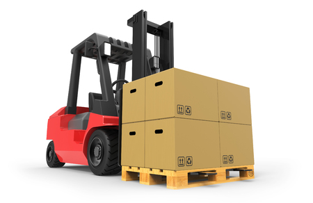 fork lifts trucks: Forklift truck with boxes on pallet 3D rendering