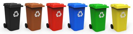 Différentes couleurs bacs de recyclage isolé sur fond blanc rendu 3D Banque d'images - 65772974