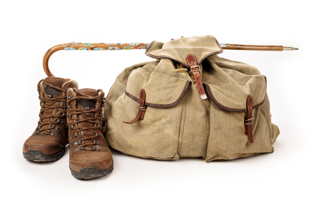 descubridor: Hiking equipment isolated on white background Foto de archivo