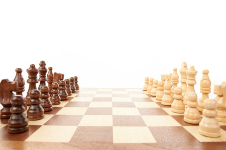 strategically: Wooden chess game Stock Photo