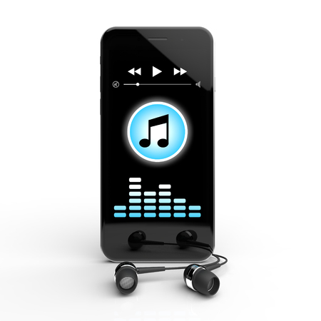 music 3d: Mobile with headphones music 3D rendering Stock Photo