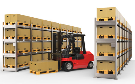 loaded: Warehouse with forklift truck 3D rendering