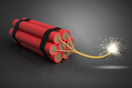 explosion risk: Dynamite, 3D rendering Stock Photo