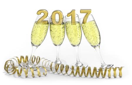 rendering: Happy new year 2017 3D rendering