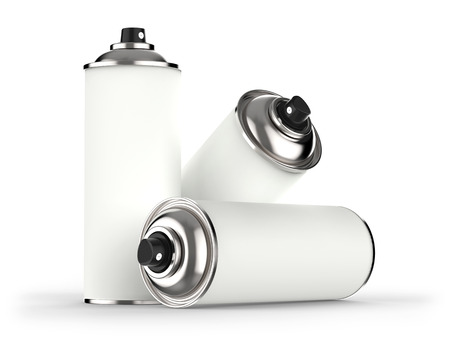 Aerosol cans isolated on white background 3D rendering Stock Photo