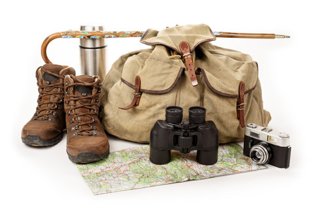 discoverer: Hiking equipment on white background