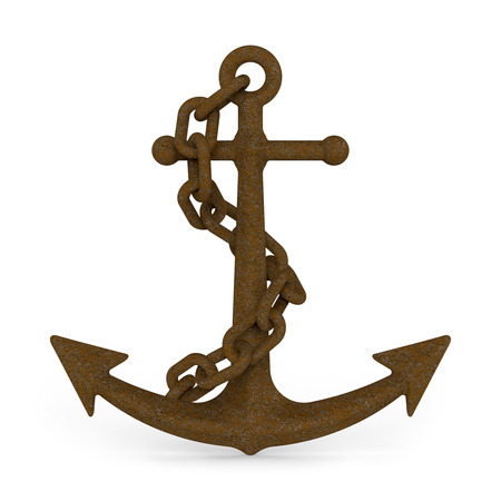 navy pier: Rusty Anchor with chain isolated on white background 3D illustration
