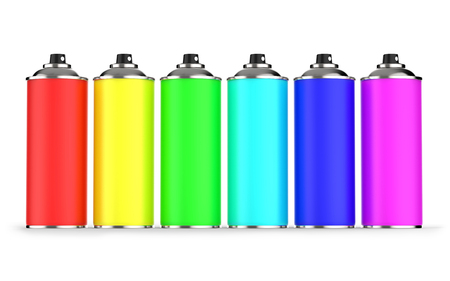 aerosol: Colorful aerosol cans isolated on white background 3D rendering Stock Photo