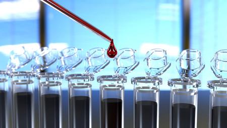 Test tubes with pipette 3D rendering Stock Photo