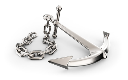 immovable: Anchor with chain isolated on white background 3D illustration