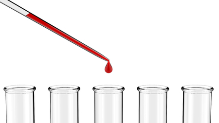 reagents: Test tubes with pipette 3D rendering Stock Photo
