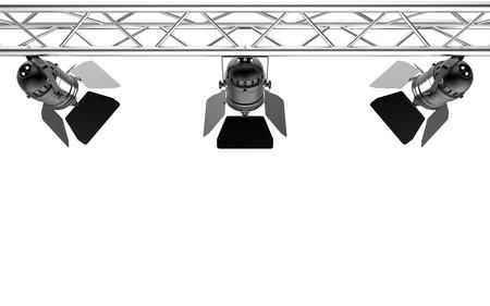 ステージ ライト ホワイト バック グラウンド 3D レンダリングに分離