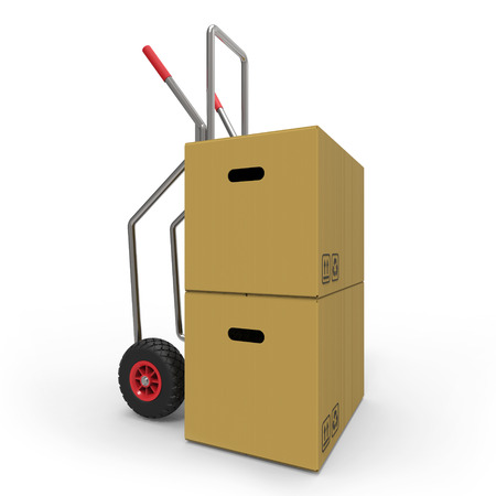 Hand truck with cardboard boxes 3D rendering Stock Photo