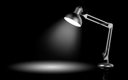 Bureaulamp op zwarte achtergrond 3D-weergave