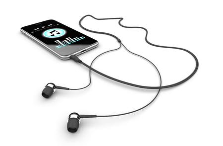 rendering: Mobile with headphones music 3D rendering Stock Photo
