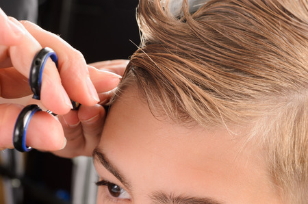 hair saloon: Young men at professional barber, hair saloon