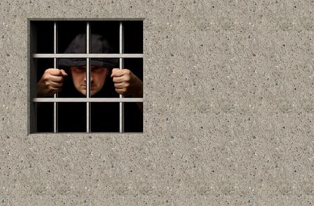prisoner: Prisoner in jail 3D illustration