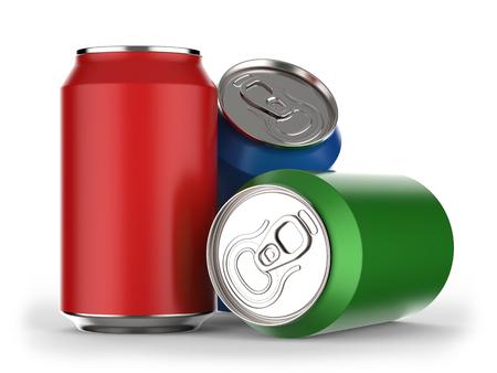 3 D レンダリングで白い背景色違い飲料缶 写真素材