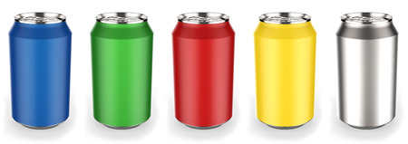 Different colors beverage cans on white background 3D rendering