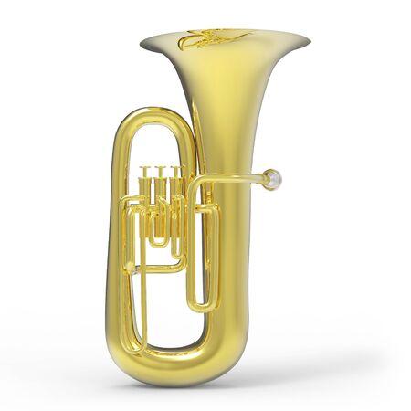 Tuba on white background 3D rendering