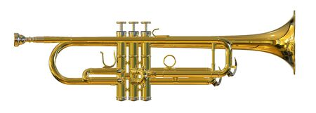 acoustics: Trumpet isolated on white background 3D rendering Stock Photo
