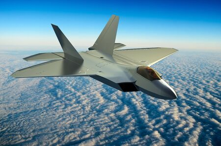 Fighter jet above the clouds 3D rendering Stock Photo