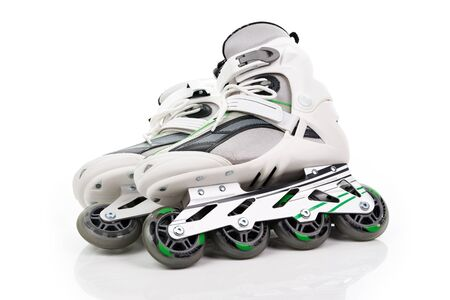 roller blade: A pair of roller skates on a white background Stock Photo