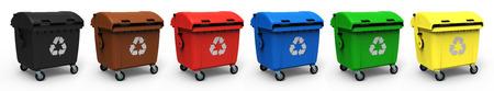 biomasa: Diferentes colores contenedor de basura aislado sobre fondo blanco Representación 3D Foto de archivo