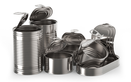 tin cans: Open metal tin cans on white background 3D rendering
