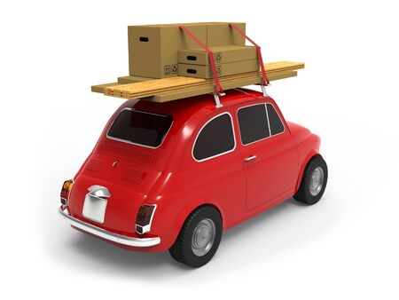 Little red car, with boxes on the roof on white background 3D rendering