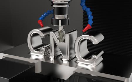 Metaalbewerking CNC freesmachine. Snijmetaal met CNC-tekst