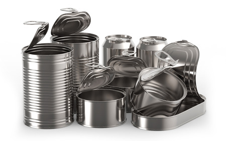 tin cans: Metal tin cans on white background 3D rendering