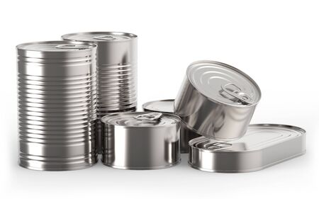 tin cans: Closed metal tin cans on white background 3D rendering