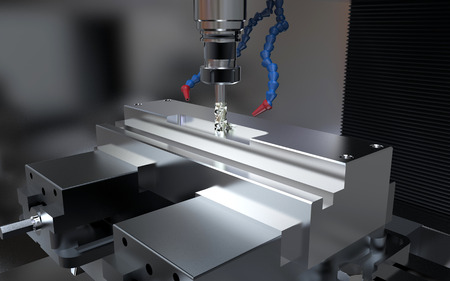 Metalworking CNC milling machine. Cutting metal.