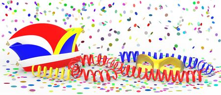 dunce cap: Confetti and party streamer with hat on white background 3D rendering
