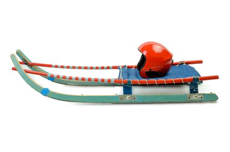 Luge with helmet winter sport isolated on white background